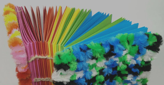 Rainbow notebook with woven pipe cleaners - Paris en Rose