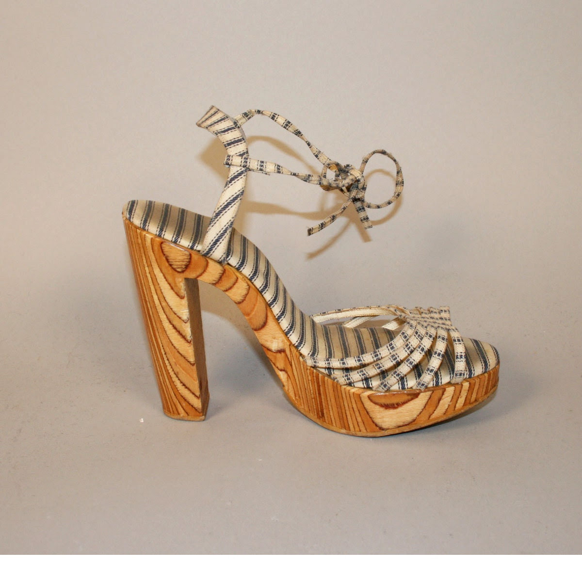"""Vintage 70s Wood Heel 5"""" Platforms Goody Two Shoes NY Striped Canvas Sandals Shoes 7 8"""