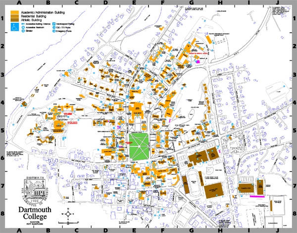 Where Is Dartmouth College On Map Bennington College Campus Map | Campus Map