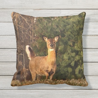 Brown Deer at Sunrise Animal Outdoor Pillow