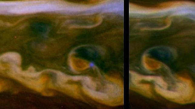 Un relámpago gigante ilumina Saturno (de día)