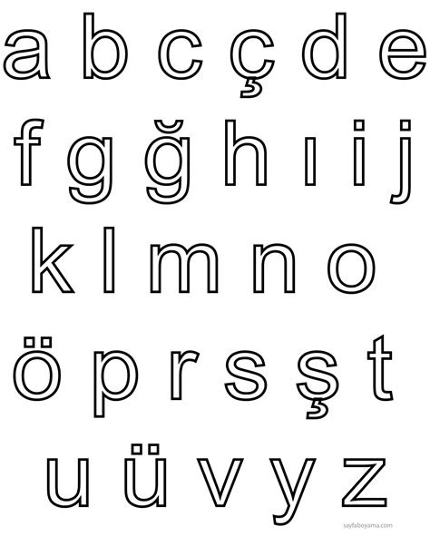 kucuk harf alfabe boyama sayfasi
