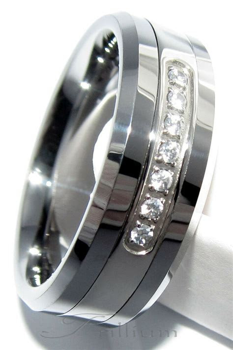 Mens Tungsten Carbide Wedding Ring 7 CZ Band 8MM   Size 7