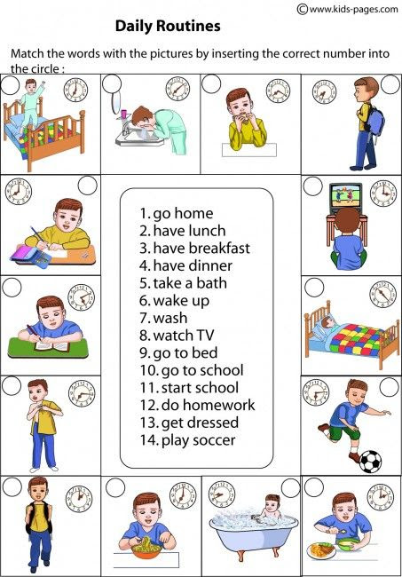 Daily Routines Matching worksheets | ESL - Vocabulary - Action ...