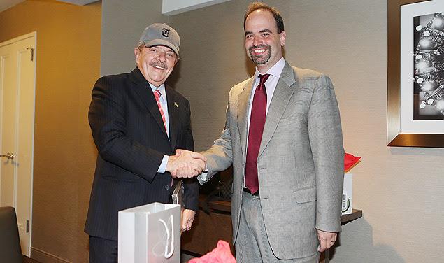 """Lula com Michael Greenspon, diretor-geral do serviço de notícias do """"The New York Times"""""""