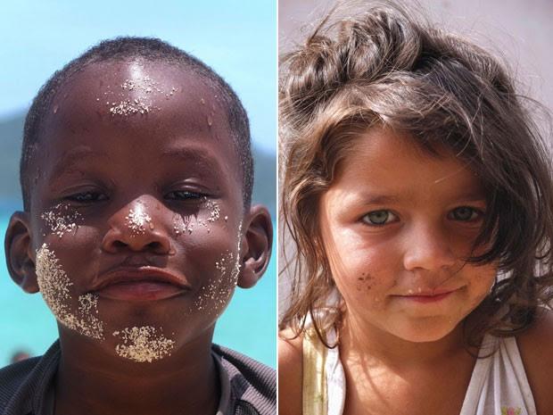 O menino hondurenho e a menina cigana romena foram algumas crianças que Felipe encontrou pelo caminho (Foto: Felipe Pereira/Arquivo pessoal)