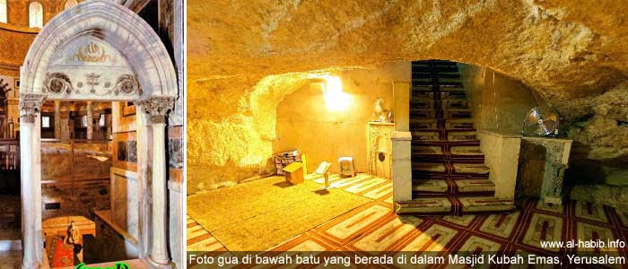 Gamabr gua di bawah batu yang berada di dalam Masjid Kubah Emas (Qubah Sakhra) di Yerusalem, Palestina.