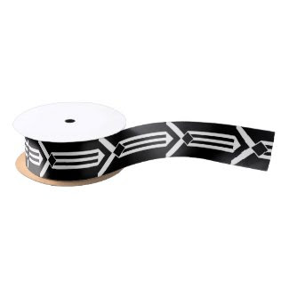 White Stripes and Chevrons on Black with Monogram Satin Ribbon