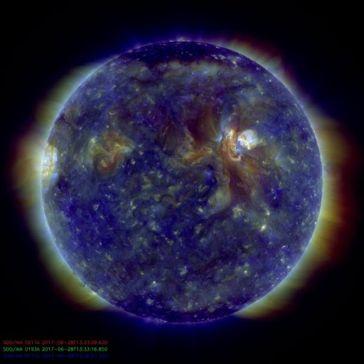 Near-Live image of the sun in combined wavelengths, 211, 193, 171 angstrom, as seen by NASA's Solar Dynamics Observatory.