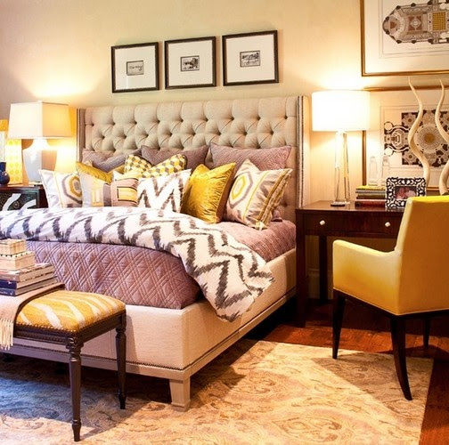 Purple and mustard bedroom | For the Home | Pinterest