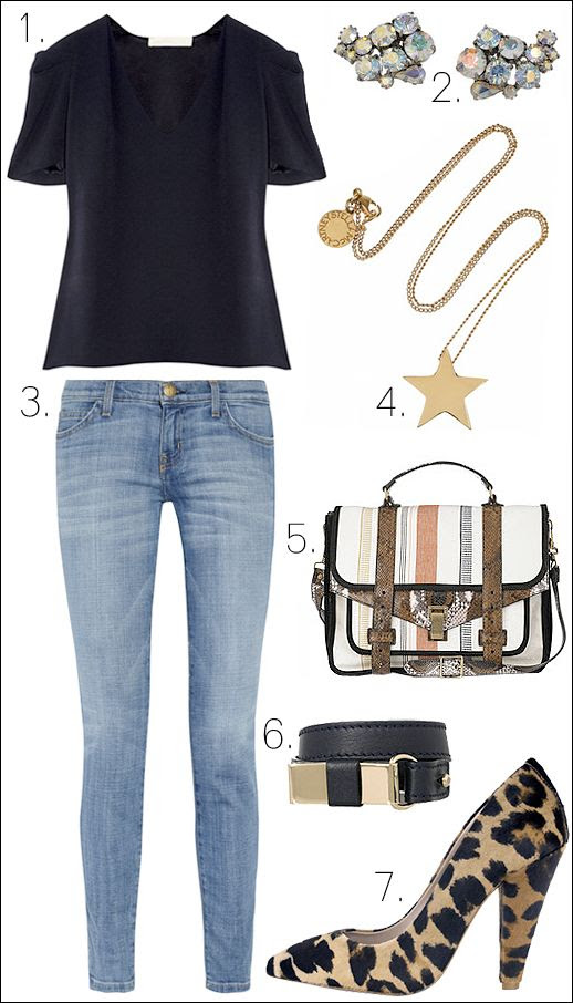 outfit inspiration netaporter sale fashion blog Vanessa Bruno crepe top Jil Sander Paisley Crystal Earrings  Current/Elliott Ankle Jean Stella McCartney Star Necklace Proenza Schouler PS1 Leather Python Canvas Bag Chloé Lily leather wrap bracelet Mulberry leopard pumps olivia palermo