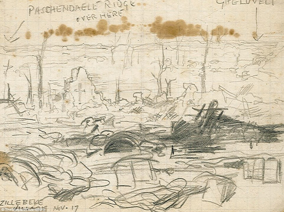 Grim sights: This battlefield drawing shows bodies and the rubble of buildings around Zillebeke, Belgium not far from the battlefield of Passchendaele