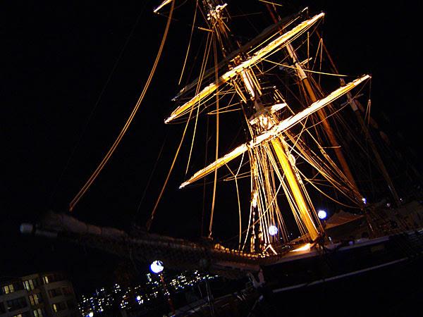 Ship in dock, at night, sydney