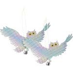 Juvale 2-Pack Bird Deterrent Reflective Owls - Bird Repellent Device Pest Control - Hanging Bird Reflectors to Keep Birds Away, Get Rid of