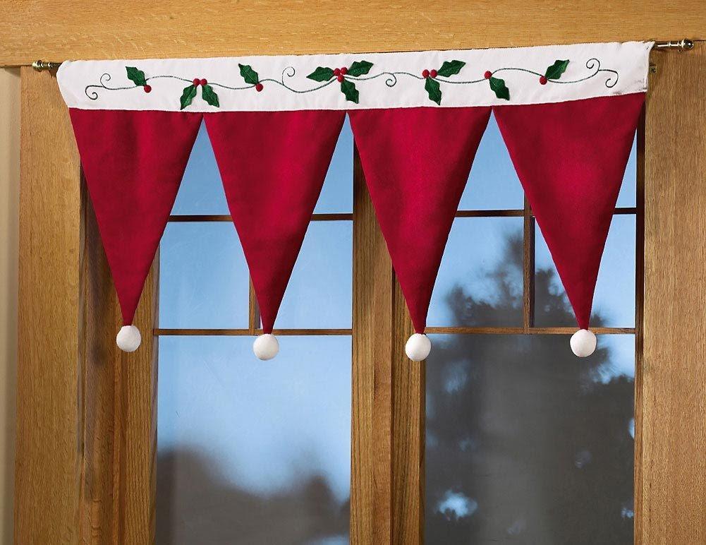 Santa Hat Window Valance Christmas Decoration
