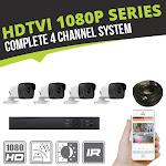 Complete 4 Channel HD-TVI 1080p Bullet Surveillance System