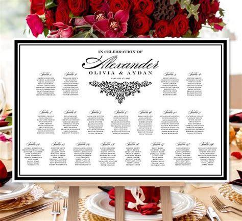 Wedding Seating Chart Poster Anna Maria Black White Print