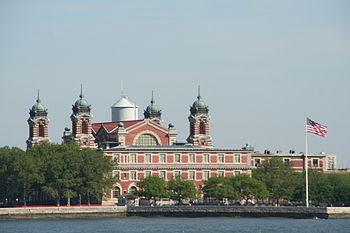 English: Ellis Island, seen from Liberty Island
