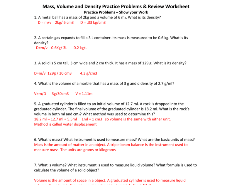 Density Practice Problems Worksheet Answers Promotiontablecovers