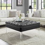 Inspired Home Kayla Square Faux Leather Coffee Table Ottoman Black
