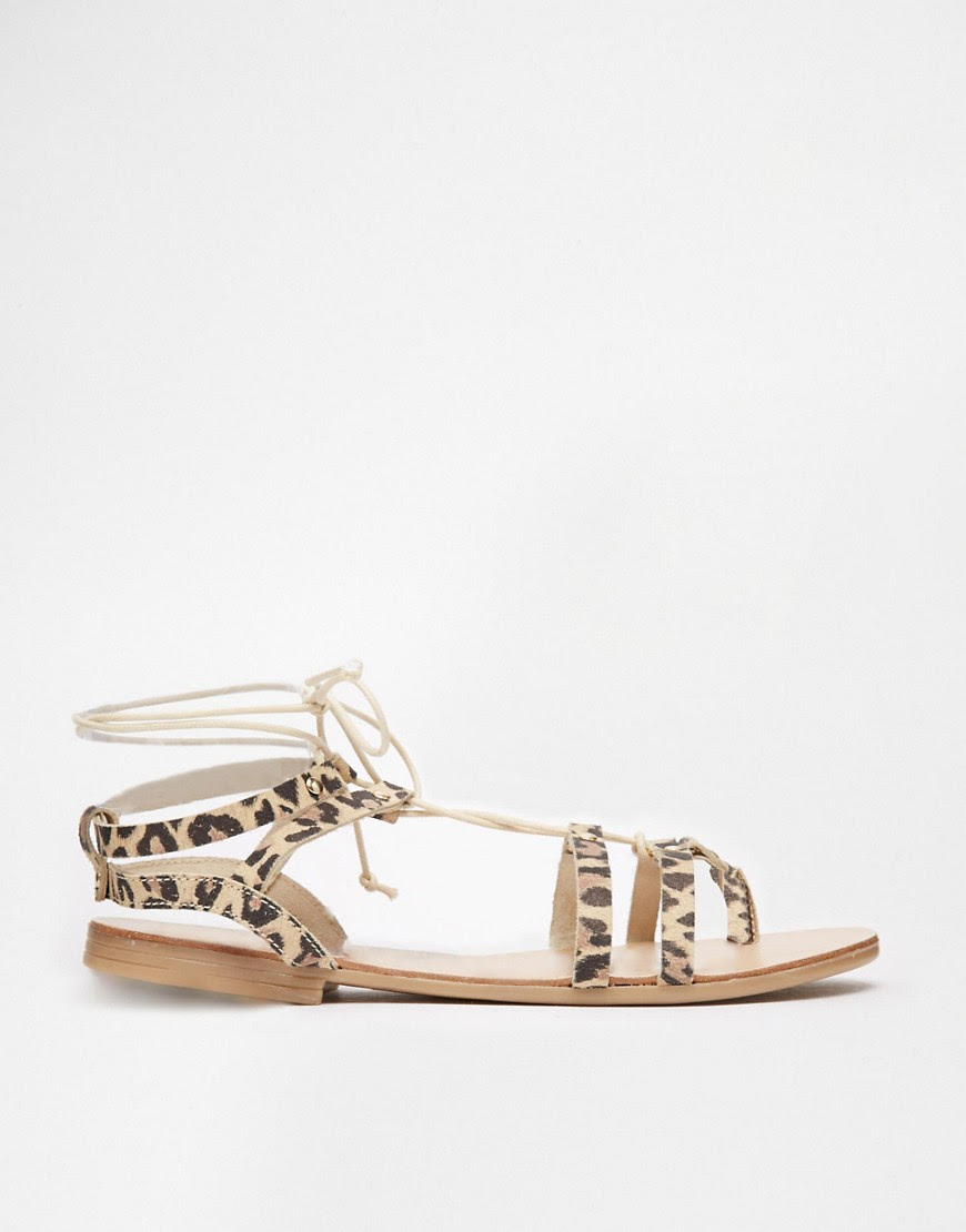 Image 2 of ASOS FOOZLE Leather Lace Up Sandals