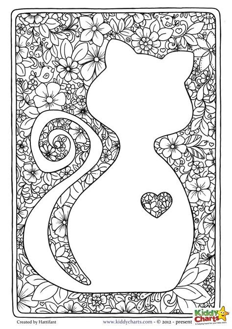 cat mindful coloring pages  kids adults