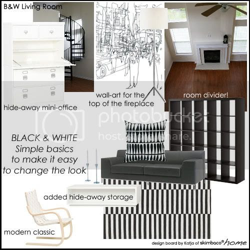 Ideas for My Modern Scandinavian Style Black & White Living Room ...