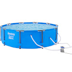 "Bestway 10 Feet x 30"" Steel Pro Max Round Above Ground Swimming Pool with Pump by VM Express"