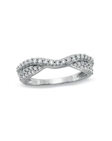 Zales 3/8 CT. T.W. Diamond Pavé Double Twist Contour Band