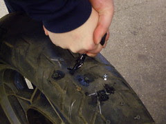 inserting the tire plug
