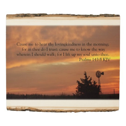 Country Sunrise with Windmill and Bible Verse Wood Panel