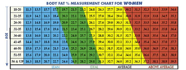 body fat percentage ideal woman