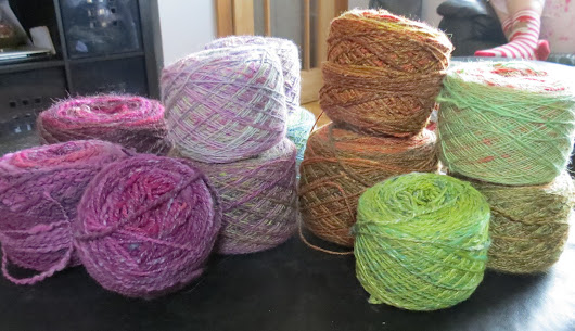 Growing stash of hand spun yarns