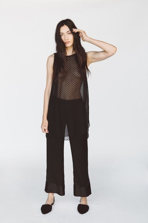 Le Fashion Blog Jenni Kayne Resort 2016 Sheer Dotted Black Top Cropped Flared Pants Furry Dorsay Flats Via Style Com