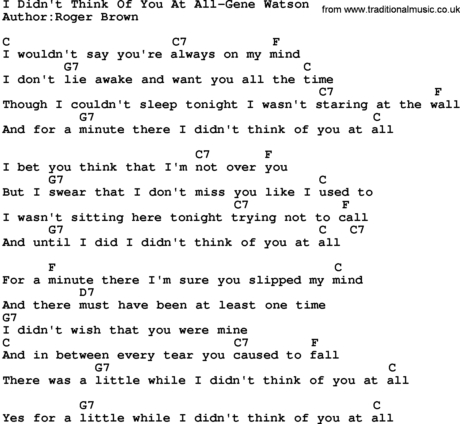Country Musici Didnt Think Of You At All Gene Watson Lyrics And Chords