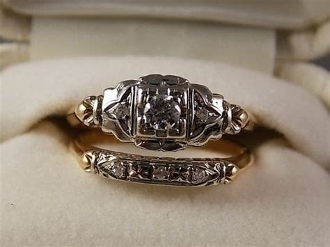 1930s Diamond wedding ring set .23 Ctw WG/YG by