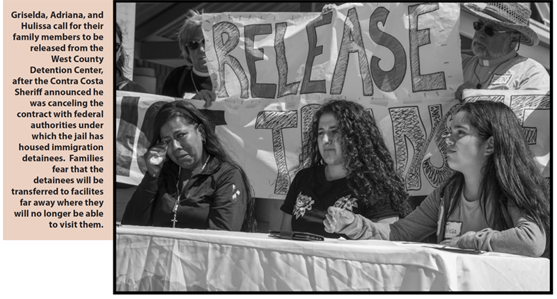 Griselda, Adriana, and Hulissa call for their family members to be released from the West County Detention Center, after the Contra Costa Sheriff announced he was canceling the contract with federal authorities under which the jail has housed immigration detainees.  Families fear that the detainees will be transferred to facilites far away where they will no longer be able to visit them.