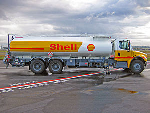 A Shell Jet A refueller truck on the ramp at V...