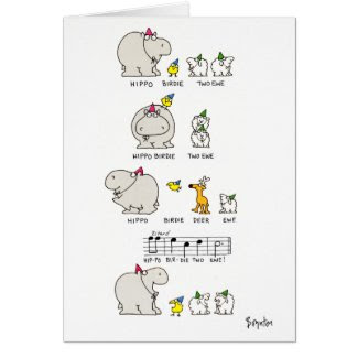 HIPPO BIRDIE GREETING CARD