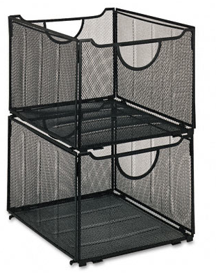 2 black mesh filing crates, stacked
