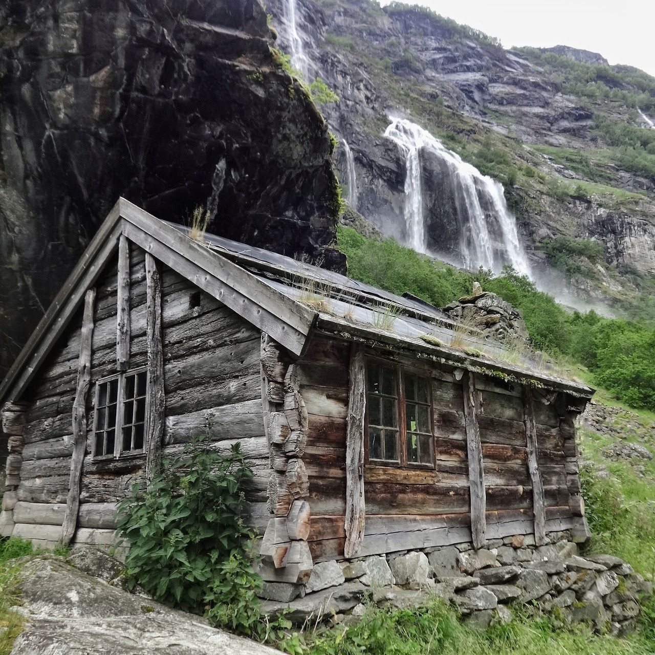 "Aurlandsdalen, Norway Submitted by Yngwie Scheerlinck / @yngwie_traveladdict ""I did a trekking from the Hardangervidda plate to the fjords and this cabin was located in a very remote gorge full of waterfalls from the surrounding glaciers who where..."