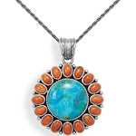 Reconstituted Turquoise and Red Coral Sun Pendant Antiqued Sterling Silver