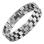 Men's Magnetic Therapy Bracelet Brushed Silver Chain