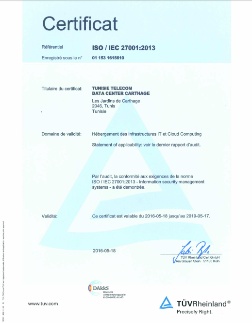 Le Data Center Carthage de Tunisie Telecom obtient la certification ISO/IEC 27001: 2013