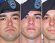 Tre dei soldati incriminati: da sinistra a destra Michael  Wagnon, Jeremy Morlock e Adam Winfield (dal Guardian)