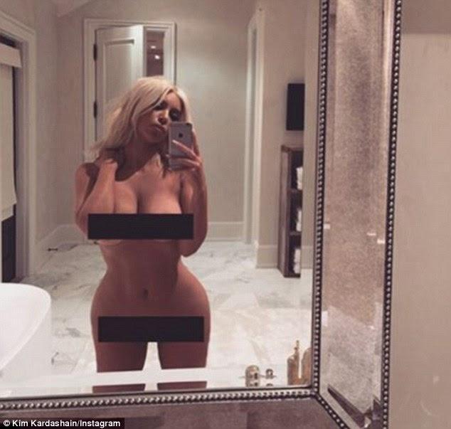Orgulhoso: Kim foi forçado a deixar claro que ela tinha um senso de humor quando ela postou essa foto particularmente impertinente março