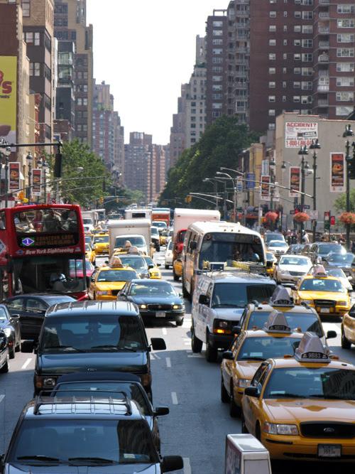 traffic fills 8th Avenue in Manhattan, NYC