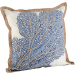 Saro Lifestyle 5432.NB20S 20 in. Square Sea Fan Coral Print Cotton Down Filled Throw Pillow Navy Blue