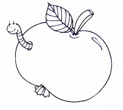 Dibujo De Manzana Con Un Gusano Dibujo Para Colorear De Manzana Con