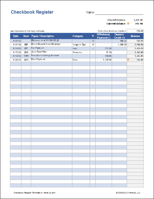 Checkbook Register Template for Excel